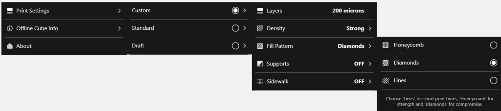 Cubify Fill Pattern Menu Sequence