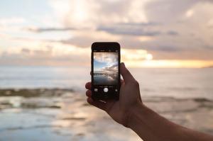 Phone Camera Capturing a Sunset
