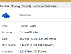 Screenshot of OneDrive Folder Properties