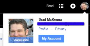 Google My Account Menu