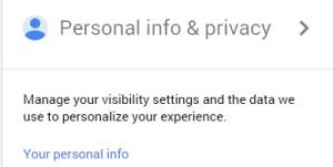 Google My Personal Info Menu Option