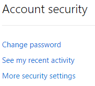 Hotmail More Security Settings