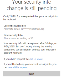 Hotmail Security Change Reminder