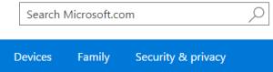Hotmail security menu