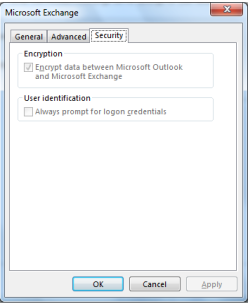 Outlook Setting: Always prompt for logon credentials