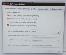 Ubuntu Software and Updates Dialog box on the updates tab