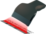 Clip art of a scanner scanning a barcode